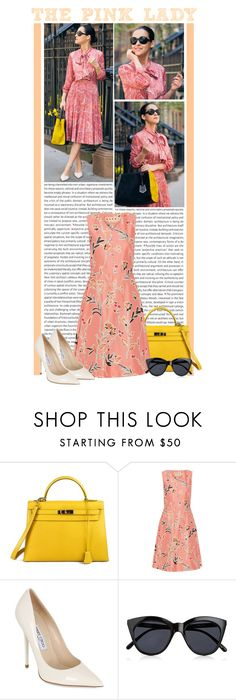 """""""#1331 (Street Style)"""" by lauren1993 ❤ liked on Polyvore featuring Oris, Hermès, Marni, Jimmy Choo and Le Specs"""