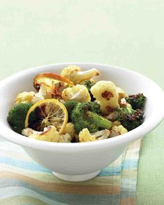 Roasted Broccoli and Cauliflower with Lemon and Garlic. Doesn't scream Thanksgiving, but it may be a possibility. jm