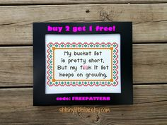 Needlepoint Pattern Quote - Snarky Cross Stitch - Bucket List - Instant Download - Hand Embroidery, Rude Cross Stitch Pattern, Printable PDF by StitchyLittleFox on Etsy