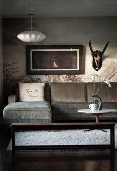 ♂ Masculine interior grey living room