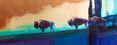 Twilight American Bison | Carrie Wild Fine Art  Contemporary Wildlife Painting