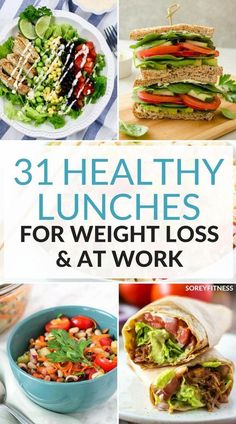 31 Healthy Lunch Ideas For Weight Loss - Easy Meals for School or Work We're always looking to make meal prep easier. These healthy lunch ideas for weight loss are easy meals for school or work! Weight Loss Meals, Weight Loss Drinks, Easy Weight Loss, Healthy Weight Loss, Recipes For Weight Loss, Healthy Food Ideas To Lose Weight, Gluten Free Weight Loss, Weight Gain, Easy Meal Prep