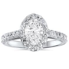 14k White Gold 1 1/2ct Oval Diamond Halo Engagement Ring (G-H, I1-I2)