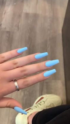 Acrylic Nails Coffin Short, Blue Acrylic Nails, Summer Acrylic Nails, Yellow Nails, Purple Nails, Coffin Nails, Gel Nails, Spring Nails, Pastel Nails