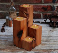 Pine candle holders!
