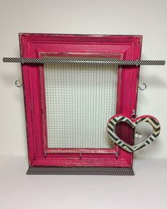 Jewelry organizer frame fuchsia pink, Earring display, jewelry stand, rustic timber jewelry display, Mother's Day, pink jewellery frame by PicToFrame on Etsy