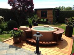 very beautiful round small hot tub outdoor deck decoration. Black Bedroom Furniture Sets. Home Design Ideas