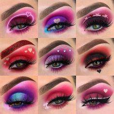valentines eye makeup All my Valentine looks! So far can you guys tell this is my favorite time of year makeup wise Also, I uploaded a video yesterday of Dramatic Eye Makeup, Eye Makeup Steps, Eye Makeup Art, Colorful Eye Makeup, Dramatic Eyes, Makeup For Green Eyes, Smokey Eye Makeup, Eyeshadow Makeup, Eyeshadows