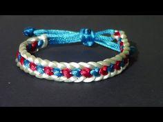 pulserera: Pulsera Kumihimo cola de ratón corazones azules y rojos