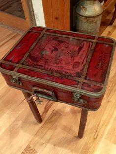 Items similar to SOLD-Accepting Custom Orders Vintage Suitcase Nightstand End Table Boho Gypsy Red Vintage Rustic Distressed Unique One of a Kind on Etsy Creative Home, Creative Ideas, Vintage Luggage, Boho Gypsy, Hope Chest, End Tables, Painted Furniture, Nightstand, Art Nouveau