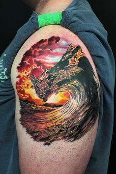 Sunset Wave by Jhon Gutti : Tattoos Sunrise Tattoo, Sunset Tattoos, Flame Tattoos, Ocean Tattoos, Nature Tattoos, Arm Tattoos, Body Art Tattoos, Sleeve Tattoos, Small Tattoos