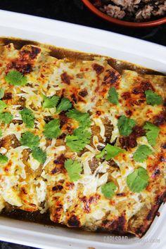 Salsa Verde Honey Lime Pepper Jack Chicken Enchiladas | Carlsbad Cravings