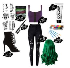 Designer Clothes, Shoes & Bags for Women Female Joker Halloween, Female Joker Costume, Joker Halloween Costume, Edgy Outfits, Retro Outfits, Cute Outfits, Joker Outfit, Avengers Outfits, Costume Ideas