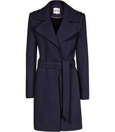 #Reiss TEXTURED FIT AND FLARE COAT NAVY