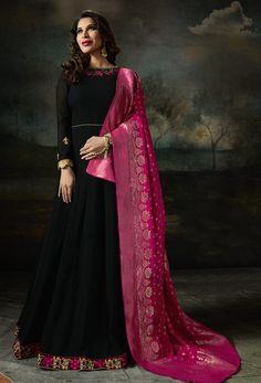 Designer Georgette dress with Pure Banarasi Silk Dupatta set Designer Salwar Kameez, Designer Anarkali, Pakistani Salwar Kameez, Anarkali Dress, Anarkali Suits, Lehenga Choli, Black Anarkali, Silk Dupatta, Indie Mode