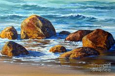 Beach Rocks Painting by Varvara Harmon - Beach Rocks Fine Art Prints and Posters for Sale