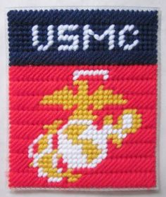 U.S. Marines tissue box cover pattern in plastic canvas (pattern) - $2.50