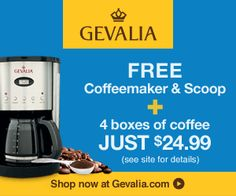 FREE Coffeemaker & Scoop + 4 Boxes of Coffee for $24.99 From Gevalia!