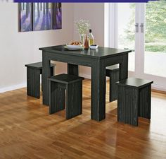space saver kitchen table and chairs natural walnut cabinets 38 best saving dining images this chunky bench set with wood finish is perfect for those areas less legia black 4