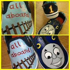 Thomas the Train Shoes by moorecrayons on Etsy, $18.00