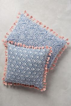 Folding Fans Pillows in Blue - Anthropologie.  16x26 or 20x20 $46.50 on sale