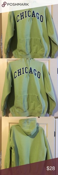 Long sleeve, heavy weighted, Chicago sweatshirt. Heavy weighted material for lots of warmth. Chicago logo. Dark lime color. Perfect for a football game, hayride, and/or pumpkin picking. Very soft and comfortable. Worn once. Tops Sweatshirts & Hoodies