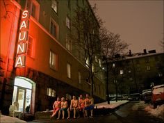 Men are sitting and cooling down after sauna. This is one of the last few public saunas left in Helsinki downtown. Helsinki, Finland Food, Finnish Sauna, Sauna Room, My First Apartment, Built Environment, Capital City, Trip Planning, Saunas