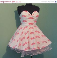 ON SALE Womens White with Pink Mustache Print by offbeatvintage