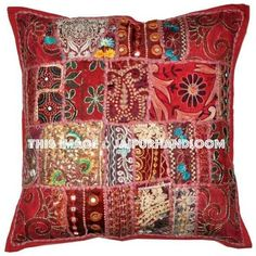 24 x 24 Red Throw Pillows for couch Indian Embroidered Cushion Covers-Jaipur Handloom