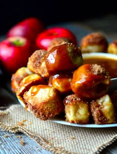 apple cinnamon pretzel bites with caramel dipping sauce.