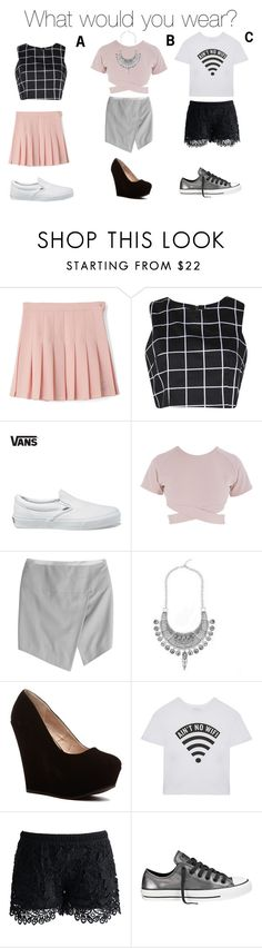 """""""What would you wear?"""" by emojistyle ❤ liked on Polyvore featuring Boohoo, Vans, Asilio, Alexandre Vauthier, Dimepiece, Chicwish and Converse"""