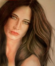 Eva Green by Elena Venidiktova, colored pencils