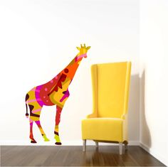 Giraffe Wall Decal, Kids Wall Decals, Giraffe Wall Decor, Zoo Decal, Baby shower gift, Safari animal decal, Girls Room Decor,Nursery Decal by Popitay on Etsy