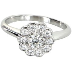Pre-Owned Tiffany & Co Rose Diamond Flower Ring Estate Platinum Sz 6 ($2,395) ❤ liked on Polyvore featuring jewelry, rings, platinum, multi colored diamond rings, round ring, flower diamond ring, pre owned diamond rings and platinum diamond rings