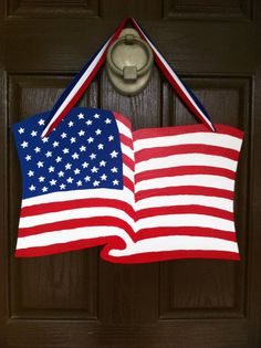 Wooden American Flag Door Hanger by HappyToz on Etsy
