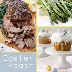 Easter Feast...Recipes for Roasted Leg of Lamb, Potatoes with Rosemary,  Asparagus with Dijon,  and Festive Cupcakes all-about-easter