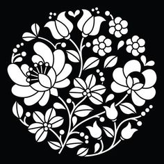 Hungarian Embroidery Patterns Kalocsai white embroidery - Hungarian round floral folk art pattern on black - stock vector -