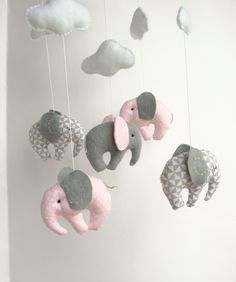 Elephant Baby Mobile Crib Decor New Born by sistersdreams on Etsy, £37.65