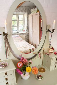 Mirrored Dressing Table- Vintage painted dressing table.