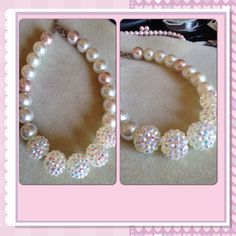 Pearl statement necklace with a bit o' bling!