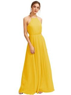 Yellow Halterneck Sleeveless Pleated Maxi Dress