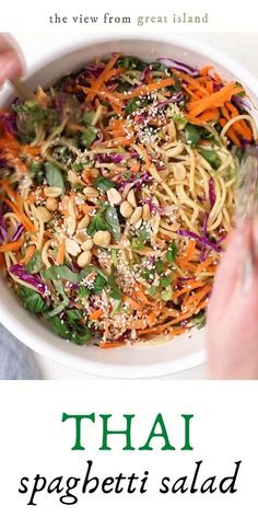 Spicy Thai Spaghetti Salad is a delicious twist on a potluck classic ~ quick to prepare using common ingredients, the Asian flavors in this colorful pasta salad really pop. It's an easy summer side salad recipe perfect for barbecue season! #salad #Thai #pastasalad Side Salad Recipes, Thai Recipes, Indian Food Recipes, Asian Recipes, Spaghetti Salad, Pasta Salad, Good Healthy Recipes, Vegetarian Recipes, Picnic Foods