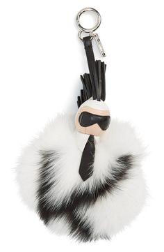 Fendi  Pompom Karl  Genuine Fox Fur  amp  Leather Bag Charm Fendi Bag Charm 9257dbaae3
