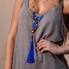Blue long necklace, bib necklace, bubble necklace, genuine italian leather