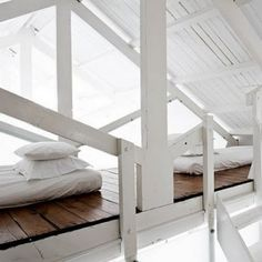 My absolute favourite idea, turning elements that are there for structural integrity into a double loft bed. I think it could be really cost effective.