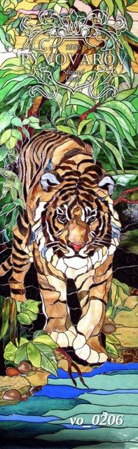 Витражная картина в окно Тигр по технике Тиффани