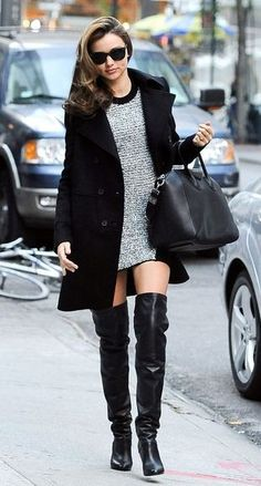 """.....""""a girl with a short skirt and a looooongggg jacket""""..... AND over-the-knee boots ;)"""