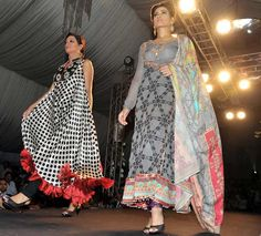LAHORE: Models walk down on the ramp during a fashion show arranged by Gali Glam at local hotel.