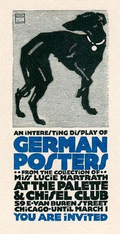 """Undated, but before 1931. Design by Oswald Cooper, announcing a show of German posters from the collection of Miss Lucie Hartrath"""". Illus by Ludwig Hohlwein."""