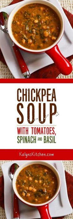 This meatless Chickpea Soup with Spinach, Tomatoes, and Basil is so delicious, especially if you start with soaked dried chickpeas. Use purchased pesto if you don't have fresh basil!  [found on KalynsKitchen.com]